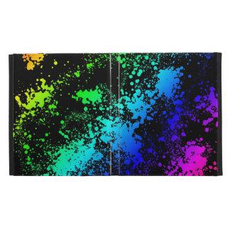 Retro 80's Paint Splatters Rainbow of Colors iPad Folio Cases