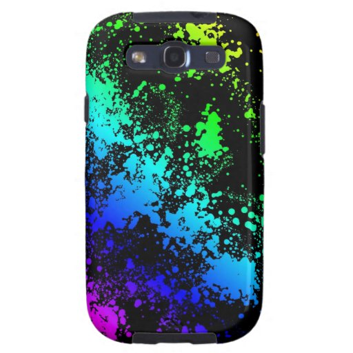 Retro 80's Paint Splatters Rainbow of Colors Galaxy SIII Cover