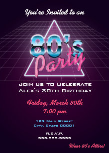 Retro 80s Party Invitation