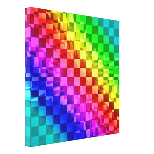 Retro 80s punk rainbow check pattern canvas print