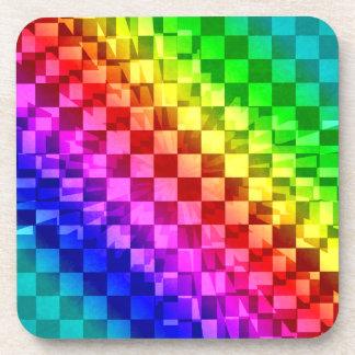 Retro 80s punk rainbow check pattern coaster