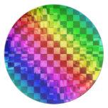 Retro 80s punk rainbow check pattern dinner plates