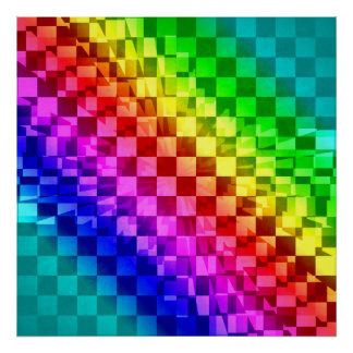 Retro 80s punk rainbow check pattern poster