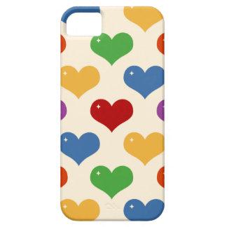 Retro 80s rainbow multi bubble hearts pattern case