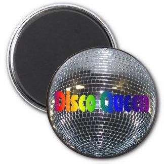 Retro 80s Shiny Disco Queen Disco Ball 2 Inch Round Magnet