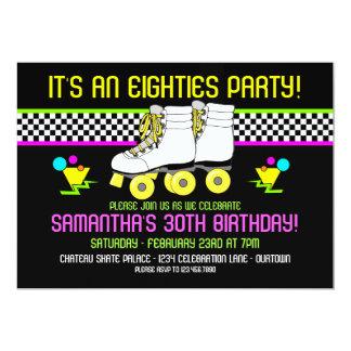 Retro 80s Skate Party Birthday Invitations