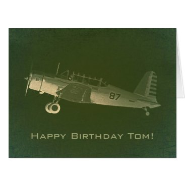 Retro #87 Green Airplane Big Birthday Card
