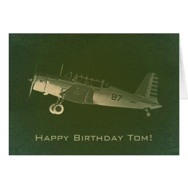 Retro #87 Green Airplane Birthday Card