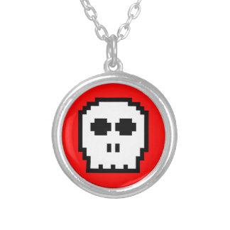 Retro 8-bit Skull Round Pendant Necklace