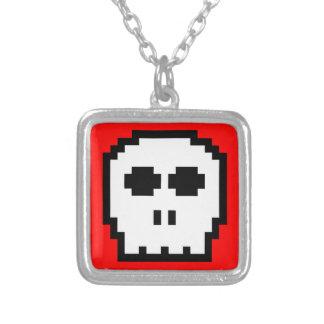 Retro 8-bit Skull Square Pendant Necklace