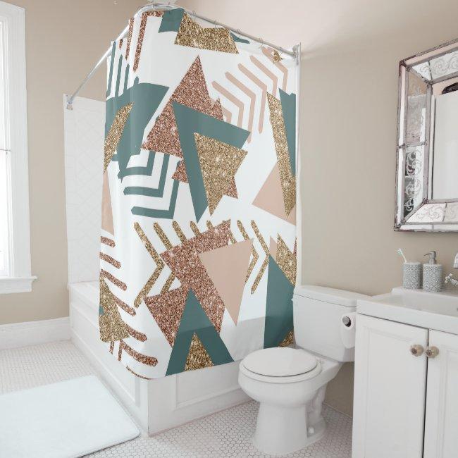 Retro 90s Abstract | 70s Avocado Green Rose Gold Shower Curtain