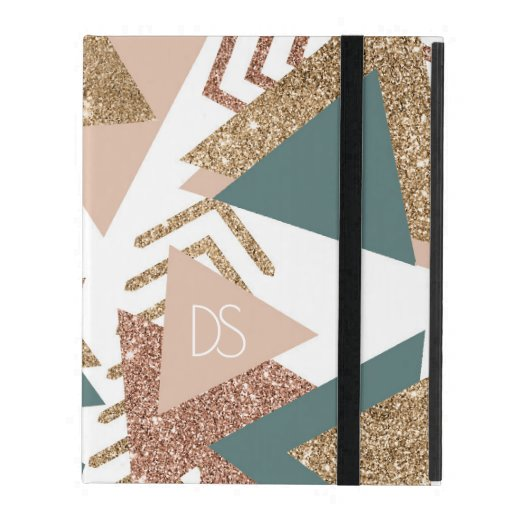 Retro 90s Abstract | 70s Green Rose Gold Monogram iPad Case