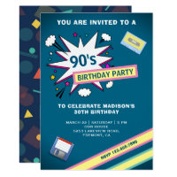 Retro 90's Theme Birthday Party Invitation