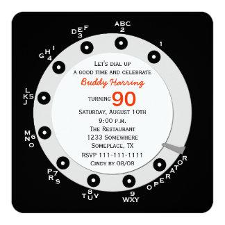 Retro 90th Birthday Party Invitation Rotary Dial