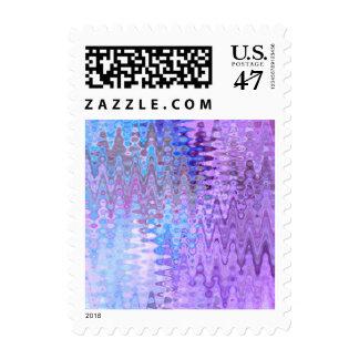 Retro Abstract Art Distortion Waves Blue Purple Postage