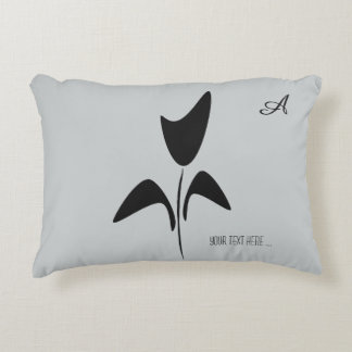 Retro Abstract Black Flower Pale Gray Decorative Pillow