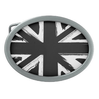 Retro abstract black union jack design belt buckle