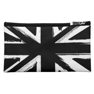 Retro abstract black union jack design cosmetic bag