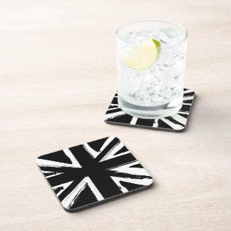 Retro abstract black union jack design drink coaster