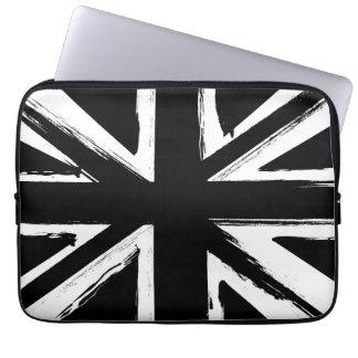 Retro abstract black union jack design laptop sleeve