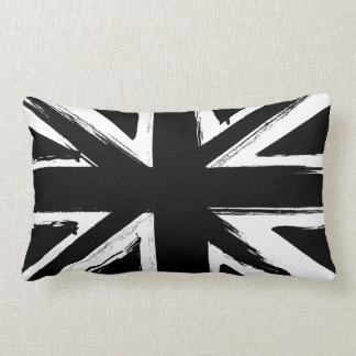 Retro abstract black union jack design lumbar pillow