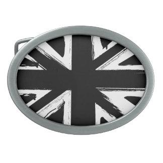 Retro abstract black union jack design oval belt buckles