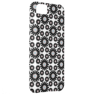 retro abstract black white flower iphone 5 case