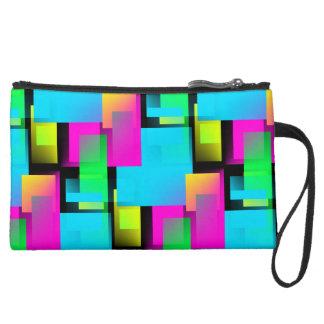 Retro Abstract Block Pattern Suede Wristlet Wallet