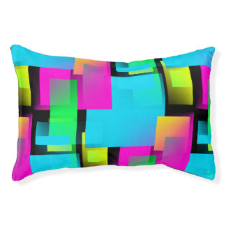 Retro Abstract Blocks Pattern Pet Bed