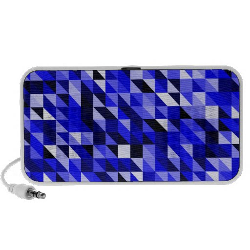 Retro Abstract Blue Triangle Pattern iPhone Speaker
