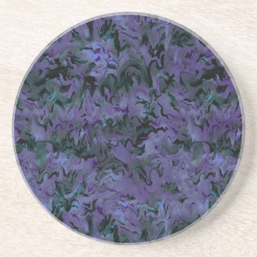 Retro Abstract Charcoal Purple Coaster