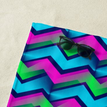 Beach Themed Retro Abstract Chevron Beach Towel