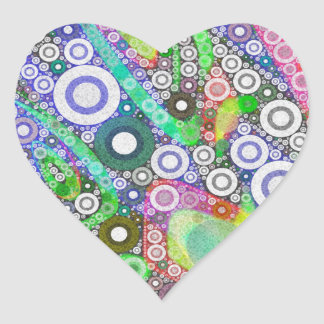 Retro Abstract Circle Pattern Heart Sticker