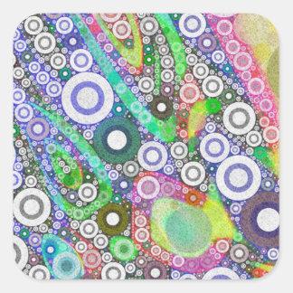 Retro Abstract Circle Pattern Square Sticker