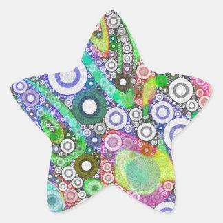 Retro Abstract Circle Pattern Star Sticker