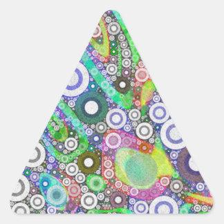 Retro Abstract Circle Pattern Triangle Sticker