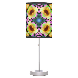 Retro abstract colorburst accent table lamp