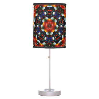 Retro abstract colorburst accent table lamp RED