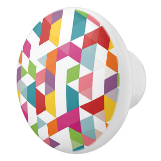 Retro Abstract Colorful Triangle Mosaic Pattern Ceramic Knob