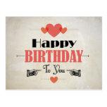 Retro Abstract Cream Birthday Card