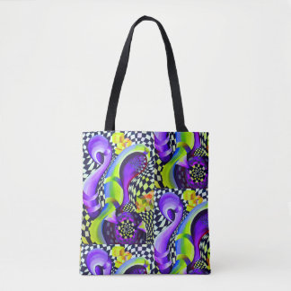 Retro Abstract Electric Blue and Harlequin Green Tote Bag