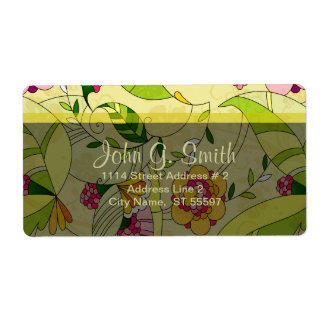 Retro Abstract Floral Collage Label