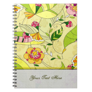 Retro Abstract Floral Collage Note Book