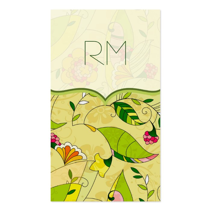 Retro Abstract Floral Collage Template Business Card