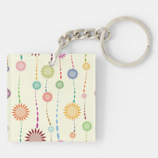 Retro Abstract Flower Pattern Keychain