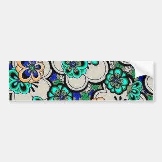 Retro Abstract Flower Teal Blue Bumper Sticker