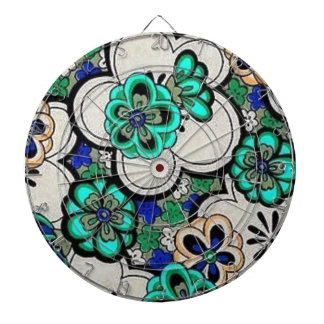 Retro Abstract Flower Teal Blue Dartboard