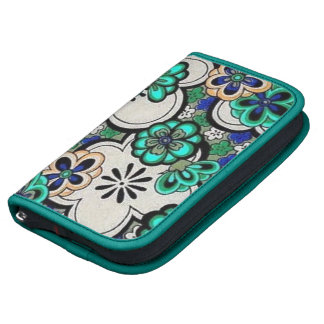 Retro Abstract Flower Teal Blue Day Planner