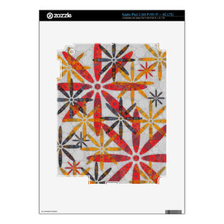 Retro Abstract Flowers Decals For iPad 3