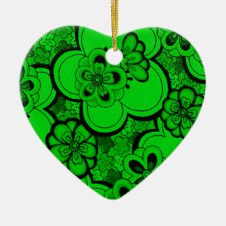 Retro Abstract Flowers Emerald Green Heart Ornamen Ceramic Ornament